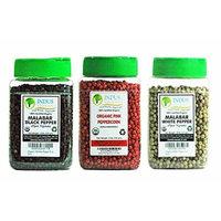 Indus Organics Black Peppercorns, White Peppercorn, Pink Peppercorn Combo Pack, 3 Jars, Premium Grade, High Purity, Freshly Packed