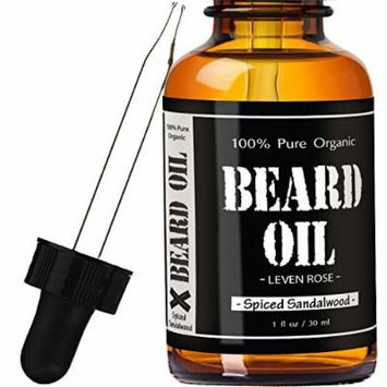 Spiced Sandalwood Scent - #1 RATED Leven Rose Beard Oil and Leave-in Conditioner - Best Scented Beard Oil 100% Organic Natural for Groomed Beard Growth, Mustache, Skin for Men - 1 oz - Premium Oils