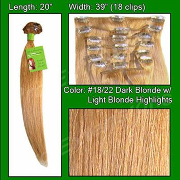 Pro Extensions #18/22 Dark Blonde w/ Light Blonde Highlights - 20 inch Remi Set - 100% Human Hiar Extension Grade A+
