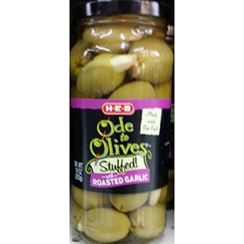 HEB Ode to Olives Stuffed with Roasted Garlic 10 Oz (Pack of 3)