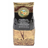Royal Kona - White Chocolate Strawberry Truffle - 10% Kona Coffee Blend - All Purpose Grind - 8 Oz. Bag
