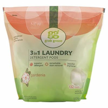 Grab Green Natural 3-in-1 Laundry Detergent Pods, Gardenia, 132 loads