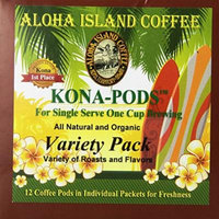 Aloha Island Coffee KONA-POD, Variety Pack of our Kona & Hawaiian Coffee Blend, 12-Count Coffee Pods