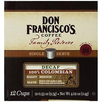 Don Francisco Coffee Family Reserve Decaf 100% Colombian Single Serve Coffee, 12 Count (Pack of 6)