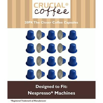 20 Count High Performance Replacement Coffee Capsules for Use in Most Nespresso Machines, The Closer is Designed & Engineered by Crucial Coffee