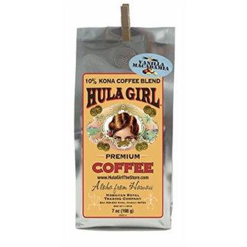 Hula Girl 10% Hawaiian Kona Coffee Blend Vanilla Mac Nut 7oz bag (198g)