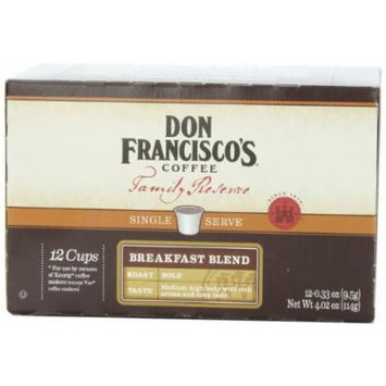 Don Francisco Family Reserve Single Serve Coffee, Breakfast Blend, 12 Count, (Packaging May vary)