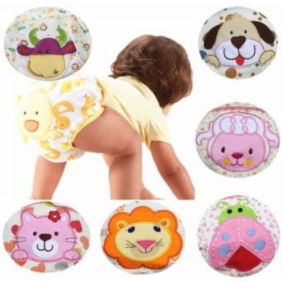 E-Tribe Kids Baby Girl Boy Pee Potty Training Pants Washable Cloth Diaper Nappy Underwear (M (fit for 6-15momths), Poppy Cat)