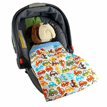 Car Seat Blankie Cars - Universal Blanket for Car Seats, Beautiful Patterns, Handmade in USA.