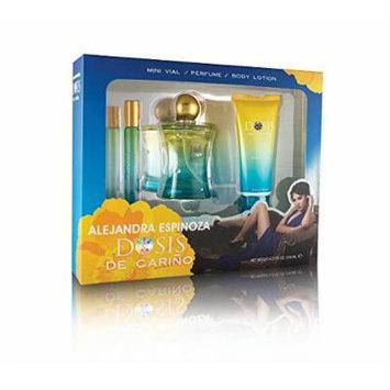 Dosis De Carino 3 Pc. Gift Set By Alejandra Espinoza, Contains De Carino Perfume 3.2 fl. Oz, Body Lotion 3.2 fl oz, Cologne 0.32 fl. Oz.