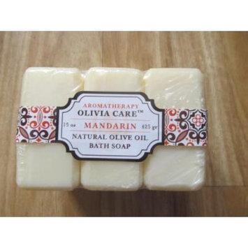 Olivia Care Natural Olive Oil Mandarin Bath Soaps Set of 3 - 15 Oz Total