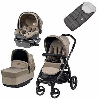 Peg Perego Book Pop Travel Bundle w Primo Viaggio 4/35 Infant Car Seat & Vario Footmuff (Cream)