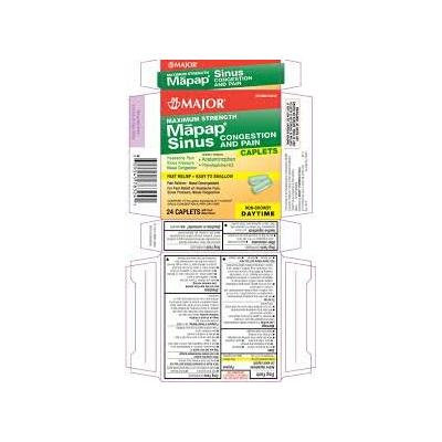 [3 PACK] Mapap Sinus Congestion & Pain Severe Daytime Non-Drowsy 24ct Tablets *Compare to the active ingredients in Tylenol Sinus & Save!*