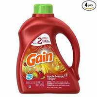 Gain 2X Ultra Gain Liquid Joyful Expressions Apple Mango Tango HE 48 Load, 100.0-Ounce Bottles (Pack of 4)
