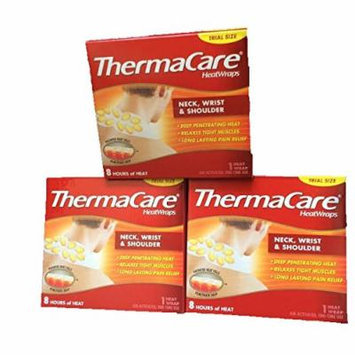 Thermacare Heatwrap for Neck,Wrist & Shoulder-Long Lasting Pain Relief-Total 3 Heatwraps