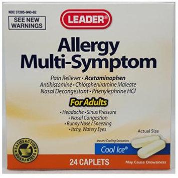 Leader Allergy Multi-Symptom, Cool Ice, 24 Count (6 PACK) - Compare to Tylenol Allergy Multi-Symptom