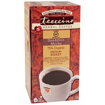 Teeccino Dandelion Mocha Chicory Herbal Tea Bags, Gluten Free, Caffeine Free, Acid Free, 25 Count (Pack of 3)