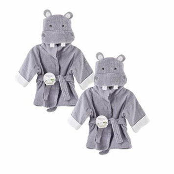 Baby Aspen Terry Cotton Hooded Baby Bath Robe, Twin Pack, Hippo