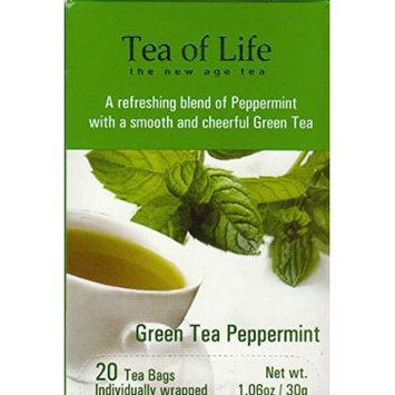 Tea of Life Teas - 20 Individually Wrapped Bags (Green Tea Peppermint)