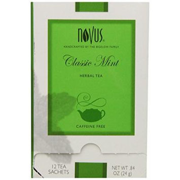 Novus Classic Mint Herbal Tea, Caffeine Free, 12 Count Tea Bags