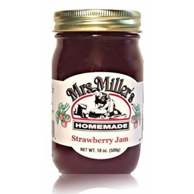 Mrs. Miller's Amish Homemade Strawberry Jam 18 oz/509g No Corn Sugar - No Preservatives - All Natural Goodness In Every Jar