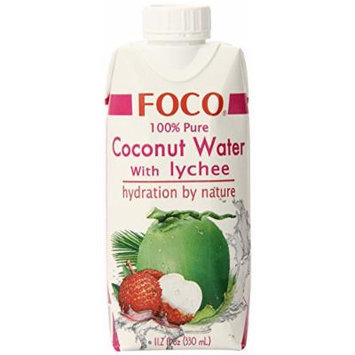 FOCO Pure Coconut Water, Lychee, 11.2 Fluid Ounce (Pack of 12)