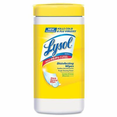 Lysol 77182 Sanitizing Wipes, Lemon & Lime Blossom, White, 7 x 8, 80/Canister, 6/Carton