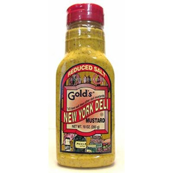 Gold's Reduced Salt New York Deli Mustard (Pack of 3) 10 oz Squeeze Bottles