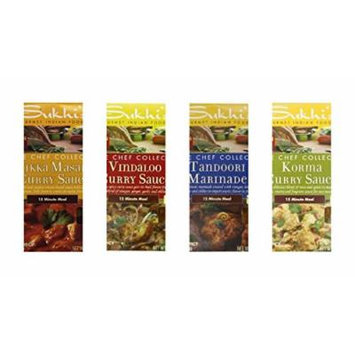 Sukhi's Gourmet Indian Foods Marinade/Sauce Bundle, 3 oz (Pack of 4) includes 1-Pouch Korma Curry Sauce + 1-Pouch Tikka Masala Curry Sauce + 1-Pouch Vindaloo Curry Sauce + 1-Pouch Tandoori Marinade