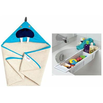3 Sprouts Hooded Towel with Bath Storage Basket, Walrus
