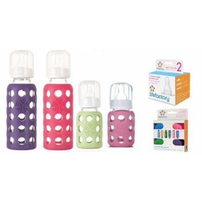 Lifefactory Glass Baby Bottles 4 Pack Starter Kit with Colored Caps (9 ounce & 4 ounce - Girl Colors)