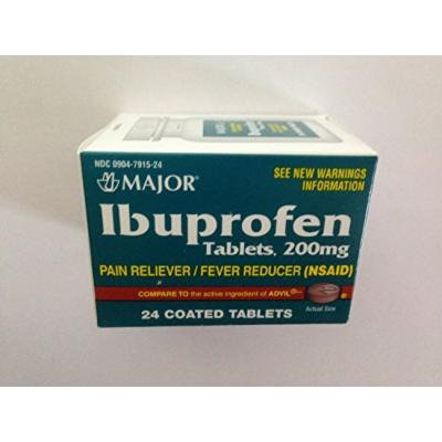 Ibuprofen 200mg Pain Reliever/Fever Reducer NSAID, 24 coated Tablets Pack of 5