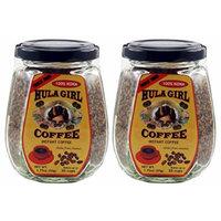 2 Jars - 100% Hula Girl Hawaiian Freeze Dried Instant Kona Coffee Small Jars (50g Each Jar)
