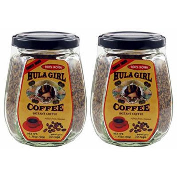 2 Jars - 100% Hula Girl Hawaiian Freeze Dried Instant Kona Coffee Small Jars (50g Each Jar)