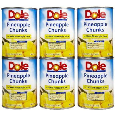 Dole Pinapple Chunks in 100% Pinapple Juice, 20 oz, 6 pk