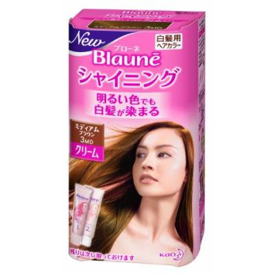 Kao Blaune Shining Hair Color Cream 3 Medium Brown for Gray Hair (Japan Import)