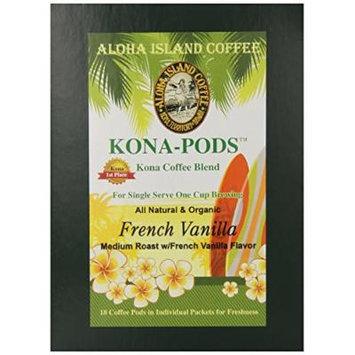 Aloha Island Coffee French Vanilla Kona Blend Organic Coffee Pods, 36 Pods, 36-Count