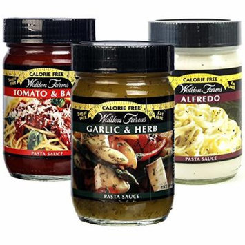 Walden Farms Garlic & Herb Pasta Sauce / Pasta Sauce Alfredo / Pasta Sauce Tomato and Basil 12 fl oz - Pack of 3