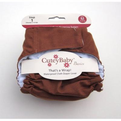 CuteyBaby That's a Wrap Diaper Cover, Solid Chocolate, Medium