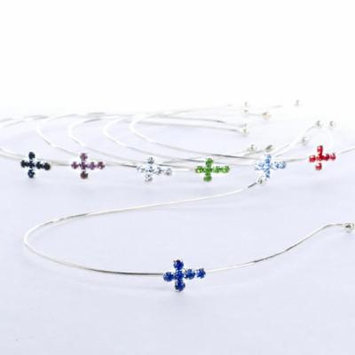 Group of 12 Skinny Silver Metal Headbands with Assorted Colorful Rhinestone Cross Embellishment for Embellishing, Decorating and Crafting
