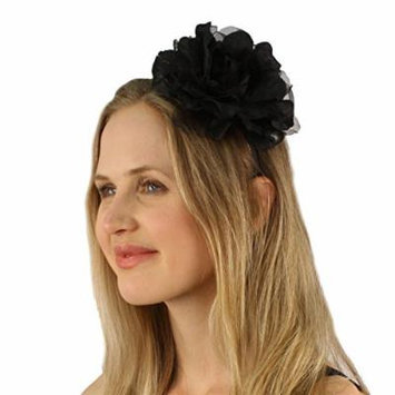 Pretty Flower Girl Bridal Floral Satin Headband Fascinator Cocktail Hat Black