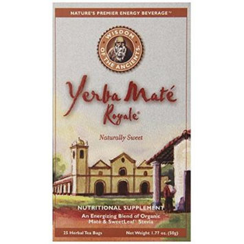 Wisdom of the Ancients Yerba Mate Royale Tea, Naturally Sweet, 25 Tea Bags (Pack of 6)