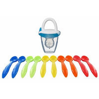 Munchkin Baby Food Silicone Teething Feeder with BONUS 10 Pack Infant Spoons, Blue