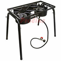 High Pressure 2 DUAL Burners Stove Cook Top w/ Stand