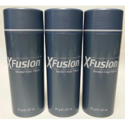3 Pack Special - XFusion Keratin Hair Fibers - Light Brown - Thickens Balding or Thin Hair - 25g
