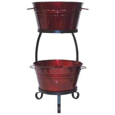 HIT 8020E GA Galvanized Heavy Gauge Steel Beverage Tub with Iron Stand, 13.5 by 30-Inch, Glazed Apple