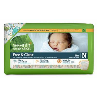 Seventh Generation Baby Diapers, Free and Clear for Sensitive Skin, with Animal Prints, Newborn, 144 Count (Pack of 4)
