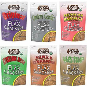 Foods Alive Flax Cracker Variety Pack (6 flavors), 4-Ounce (Pack of 6)