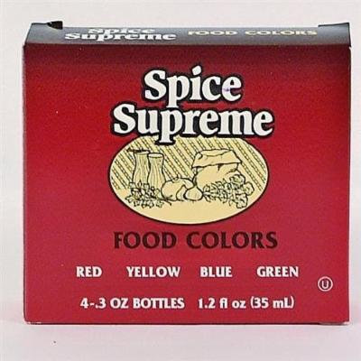Spice Supreme Food Color 4 Pack Assorted Case Pack 24