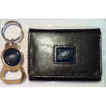 Philadelphia Eagles Tri Fold Leather Wallet & Keychain Gift Set